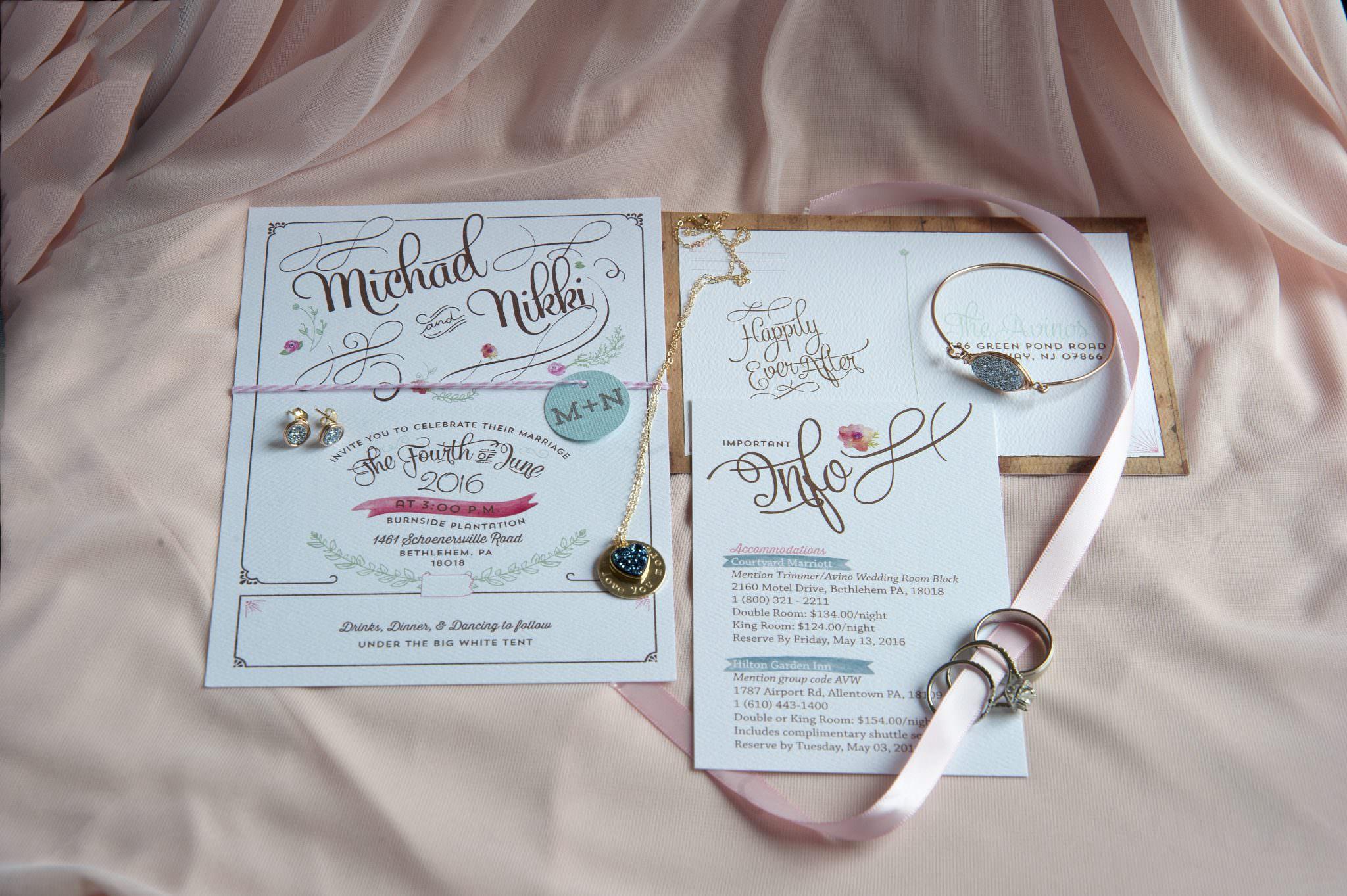 Wedding invitation suite-Pink wedding invite-Berks County Wedding Photographer | K. Moss Photography