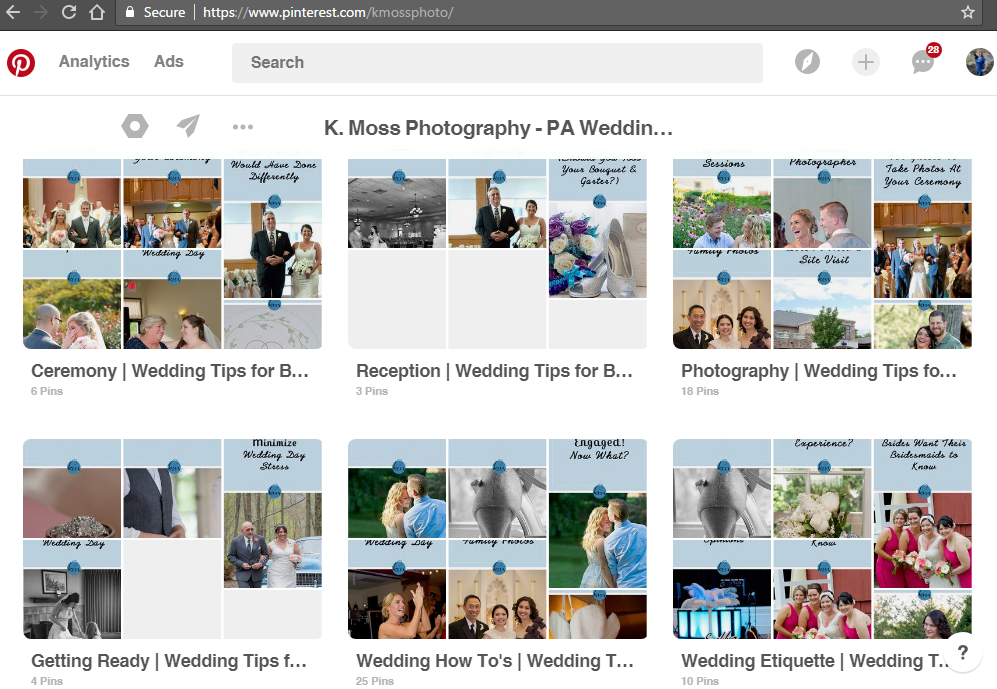 How to organize your wedding pinterest board | K. Moss Photography