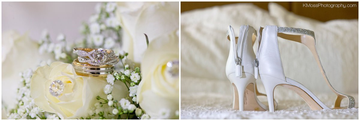 White Rose Wedding Bouquet and Gold Wedding Rings | K. Moss Photography