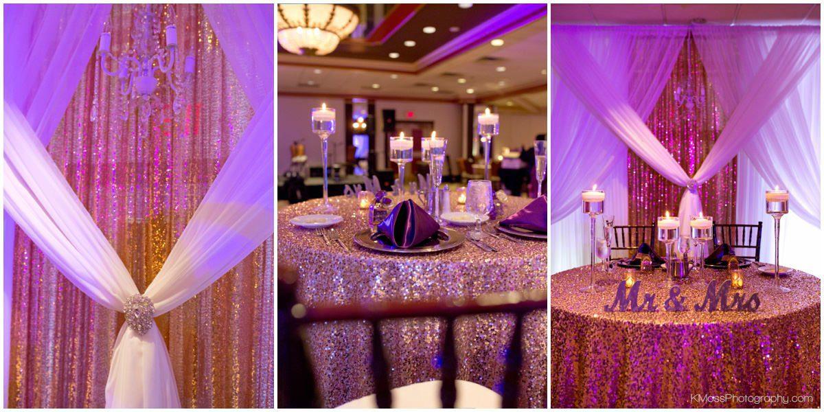 Lehigh Valley Wedding Reception Purple Uplighting | K. Moss Photography