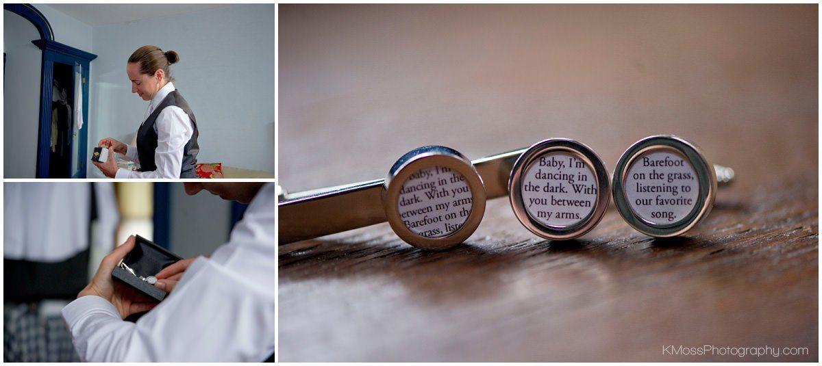 Custom wedding cufflinks and tie clip | K. Moss Photography