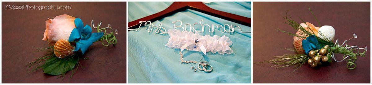 Custom wedding hanger and accessories | K. Moss Photography