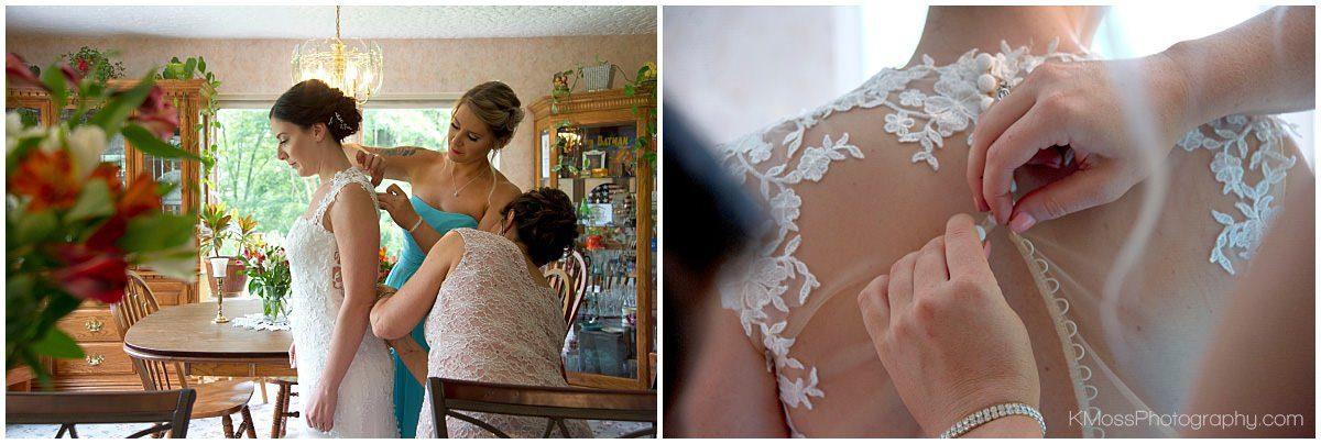 Sheer button wedding gown | K. Moss Photography
