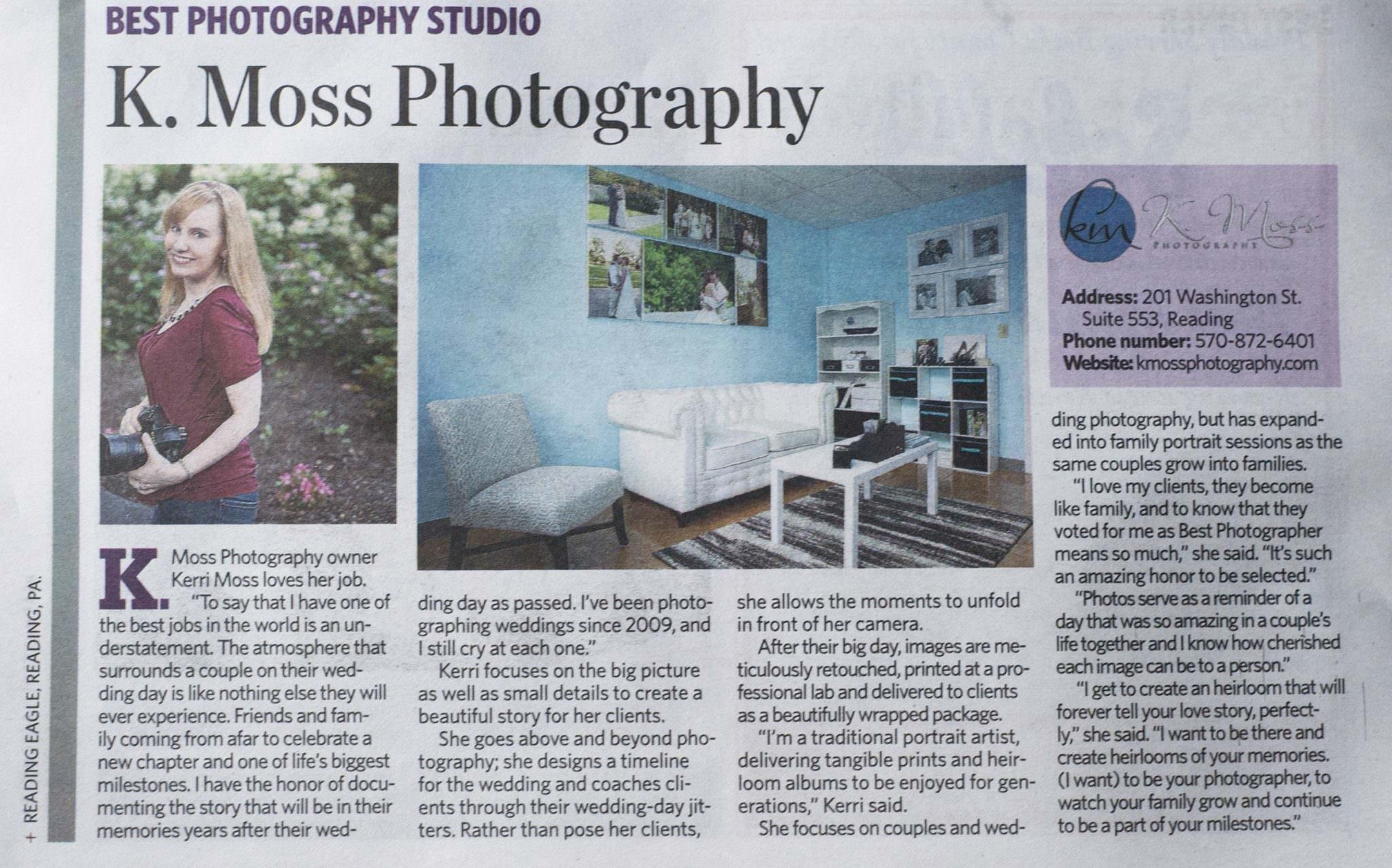 Best Photography Studio Award Berks County PA   K. Moss Photography
